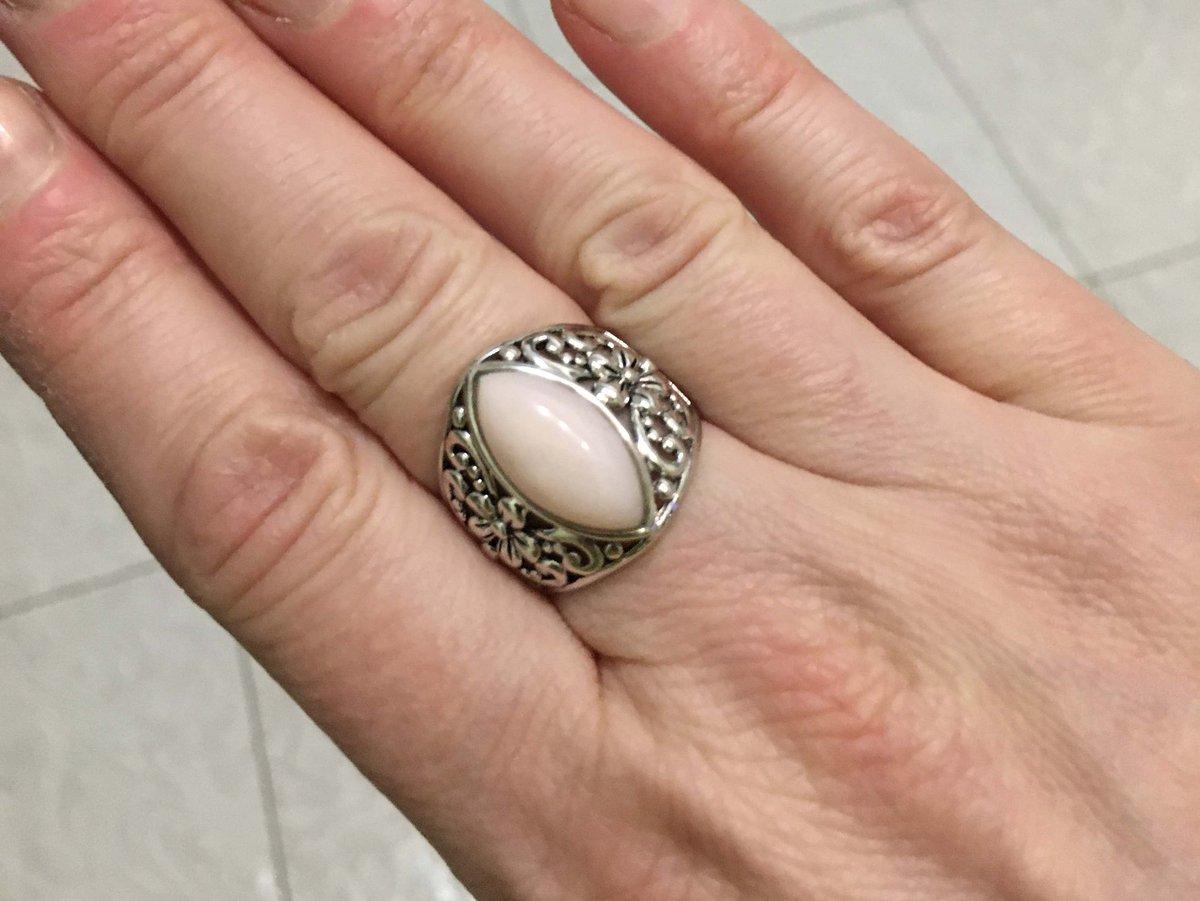 Кольцо с перуанским розовым опалом