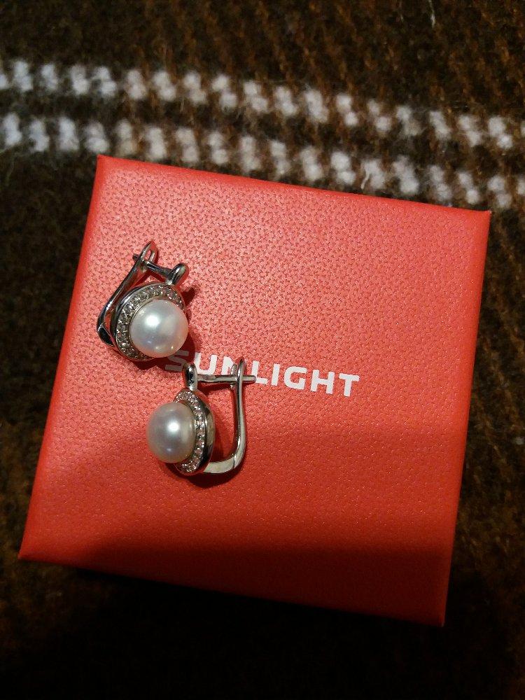 Серебрянные сережки с жемчугом