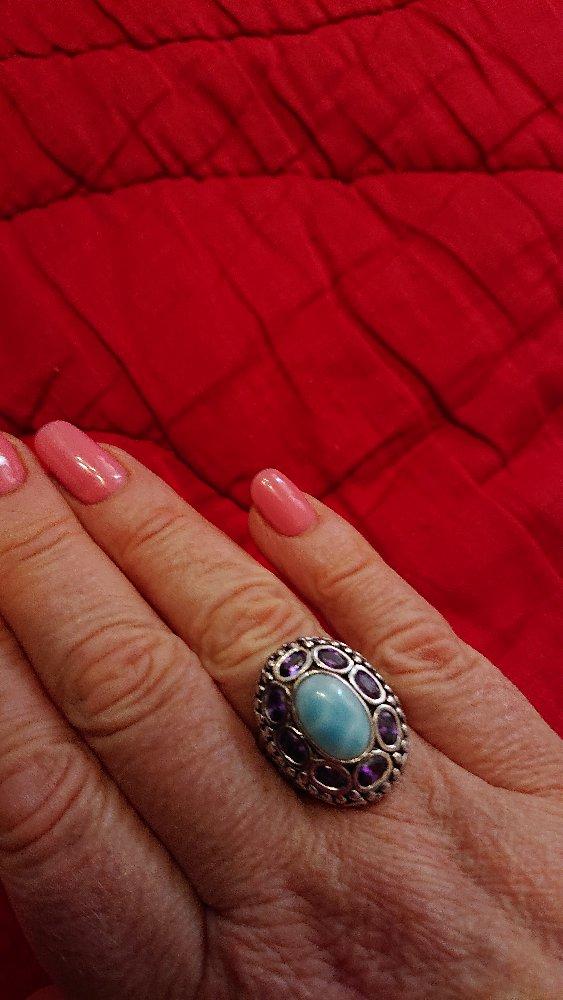 Кольцо-перстень с ларимаром и аместистами