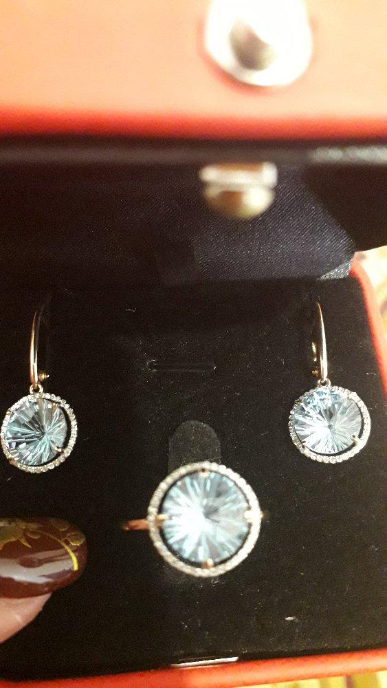 Серьги золото с топазами и бриллиантами
