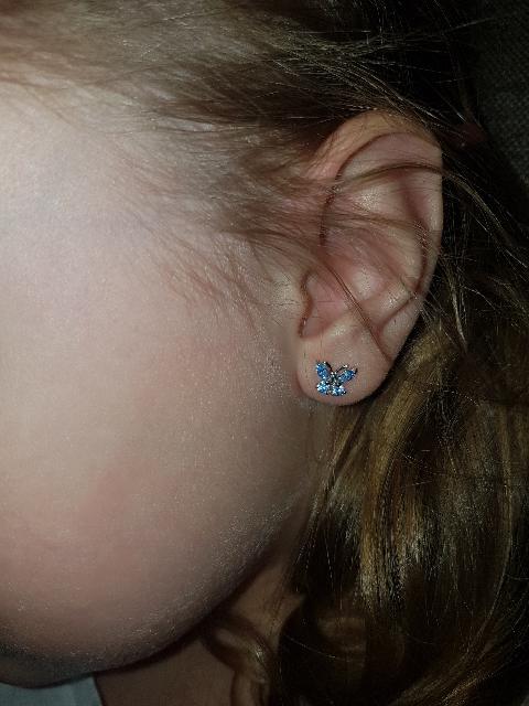 Серьги бабочки с голубыми фианитами