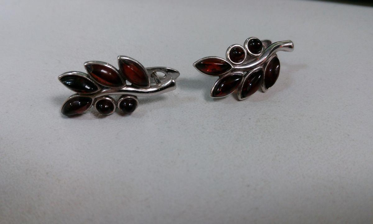 Серьги ( серебро с янтарем)