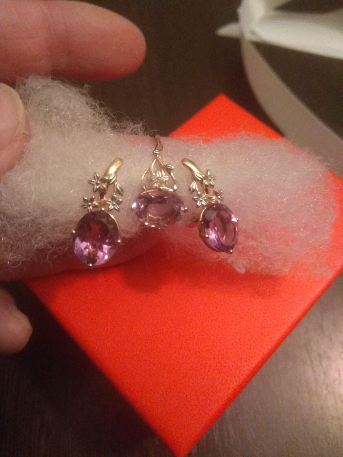 Комплект кольцо и серьги с аметистом