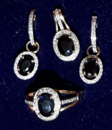 Кулон с сапфиром и бриллиантами