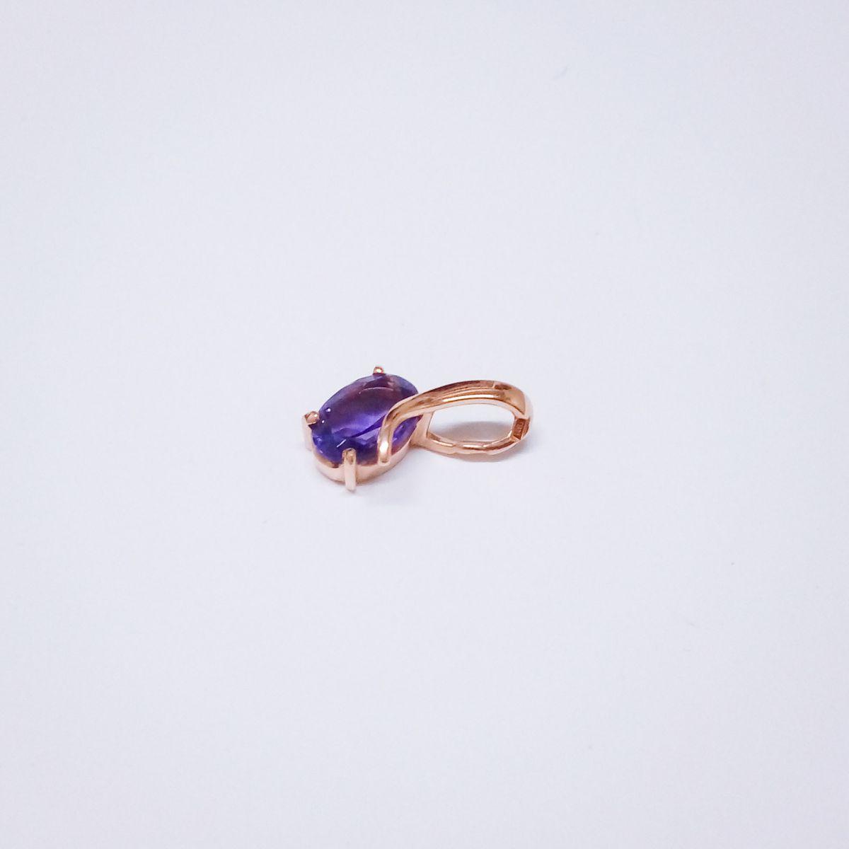 Красивая подвеска с аметистом насыщенно-фиолетового цвета