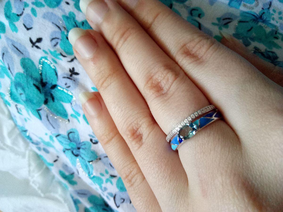 Кольцо с голубой эмалью