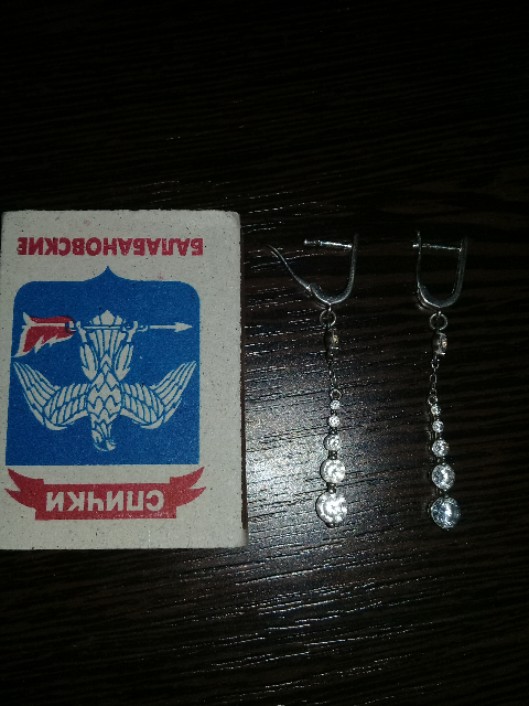 Серёжки серебряные с фианитами.