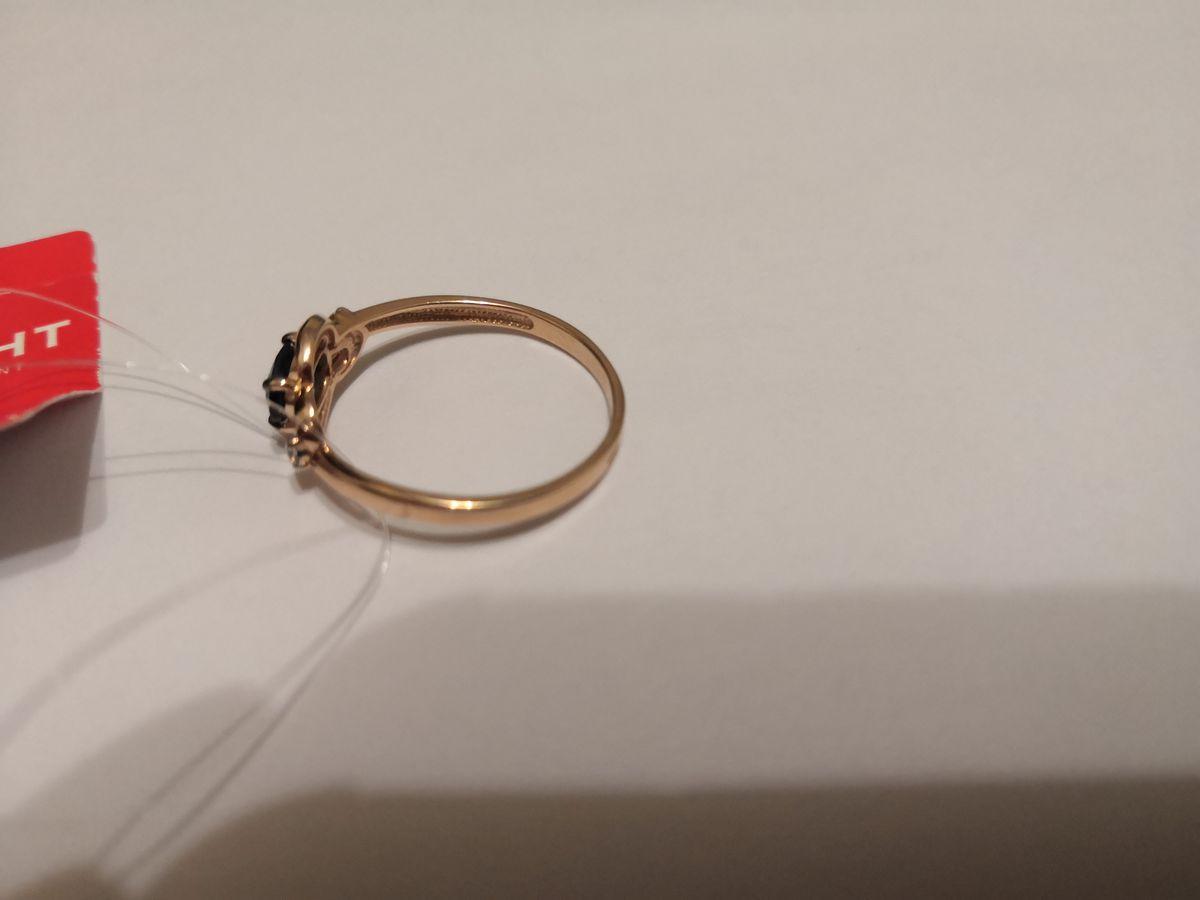 Кольцо золотое, камни сапфир и бриллианты