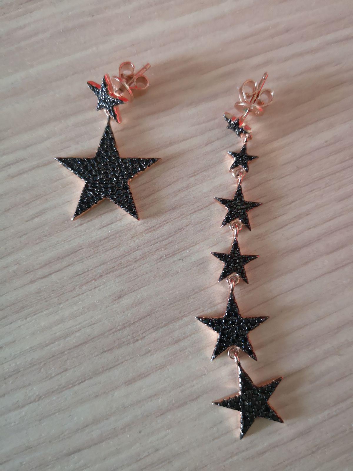 Серебряные серьги звёздочки с фианитами
