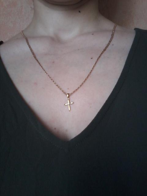 Крест золотой с фианитом