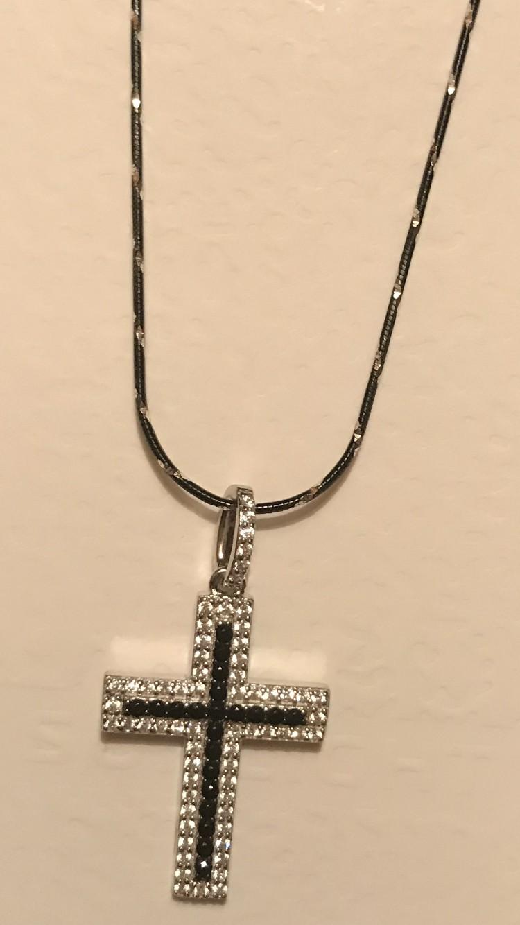 Подвеска крестик из серебра с фианитами