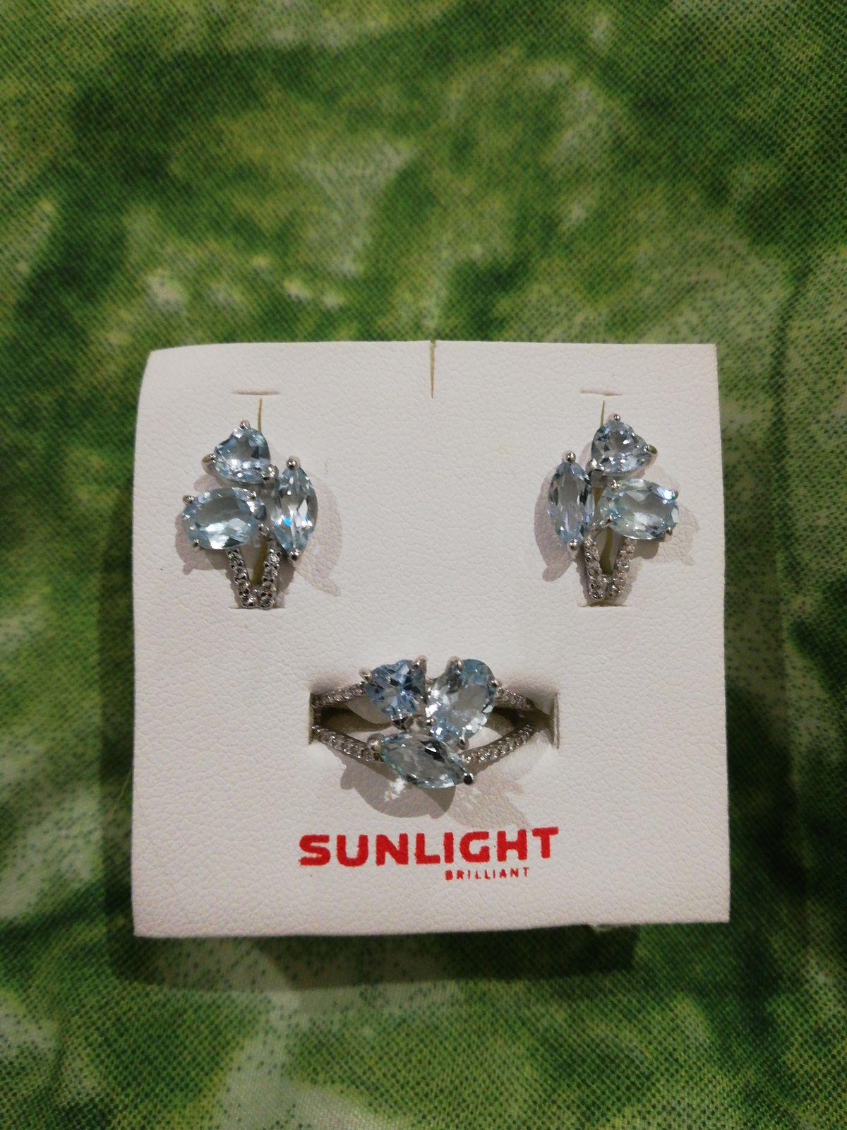 Серебряные серьги с топазом и фианитами
