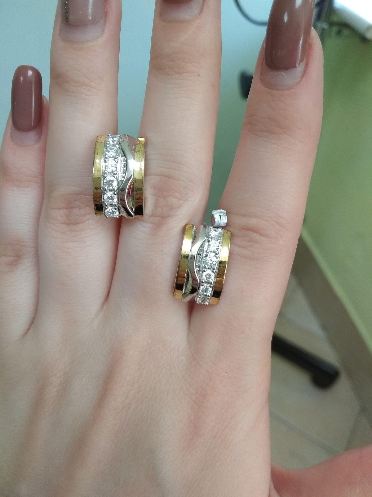 Серьги серебряные с позолотой