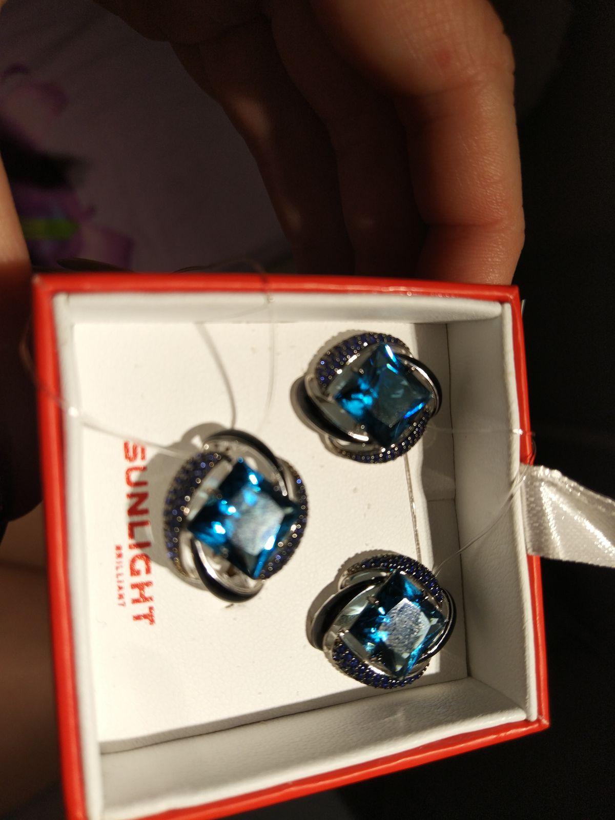 Серебряные серьги синие