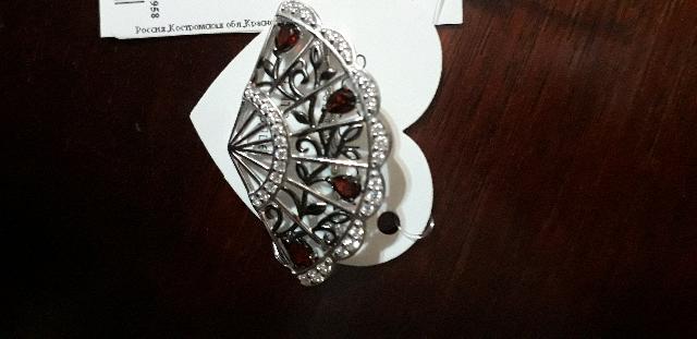 Серебряная брошь-веер