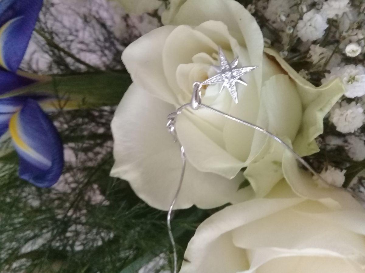 Звезда с бриллиантами и топазом.