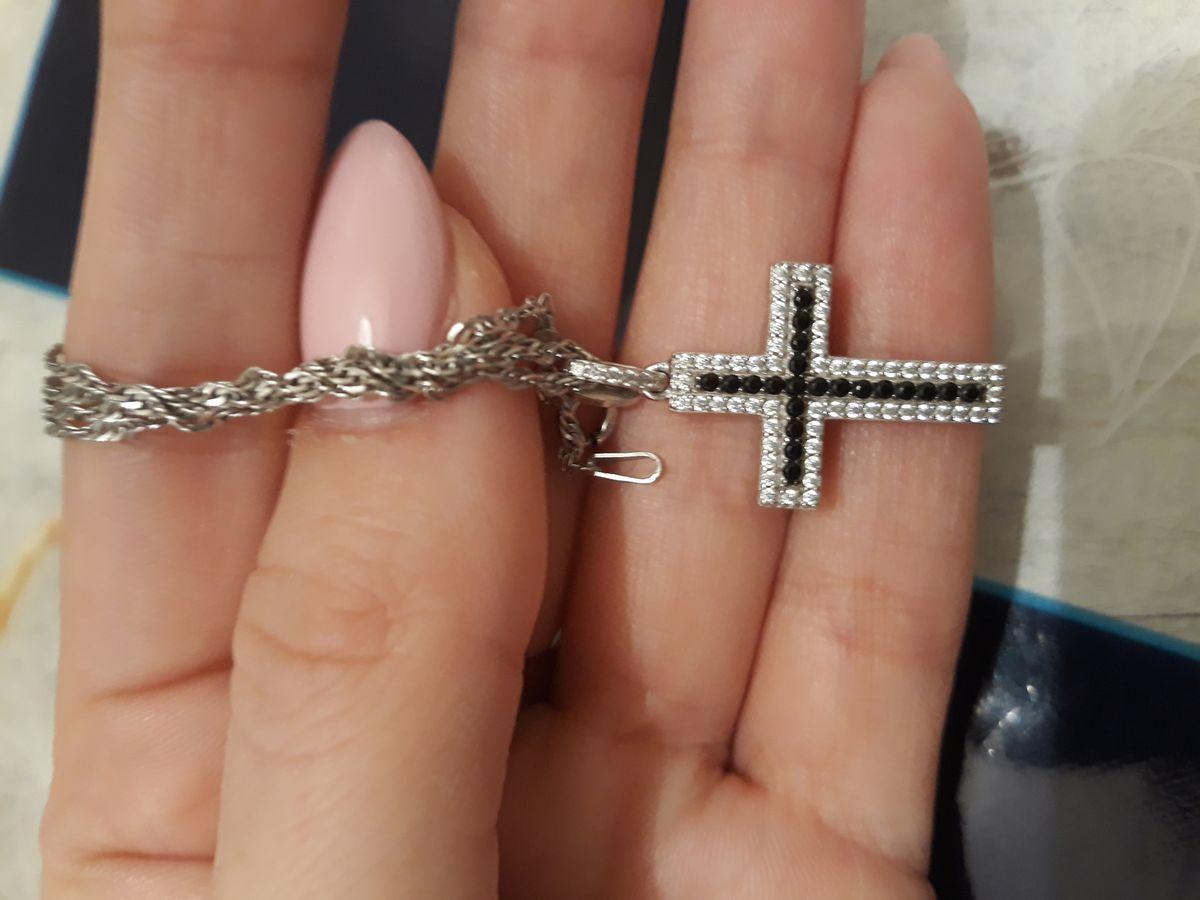 Крестик серебрянный с фианитами