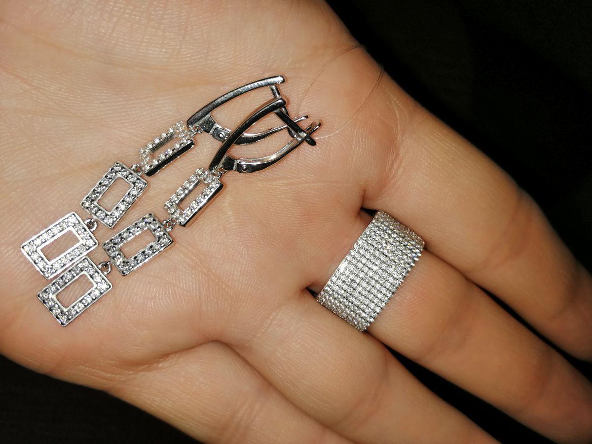Серебряные подвижные серьги